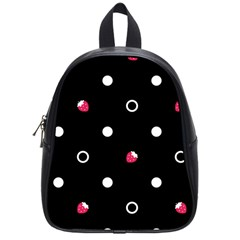 Strawberry Dots White With Black School Bag (Small)