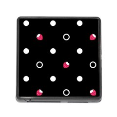 Strawberry Dots White With Black Memory Card Reader with Storage (Square)