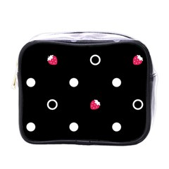 Strawberry Dots White With Black Mini Toiletries Bag (one Side)