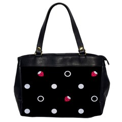 Strawberry Dots White With Black Oversize Office Handbag (one Side)