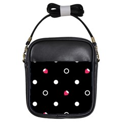 Strawberry Dots White With Black Girls Sling Bag