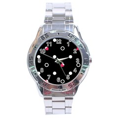 Strawberry Dots White With Black Stainless Steel Analogue Men's Watch