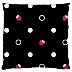 Strawberry Dots White With Black Large Cushion Case (one Side)