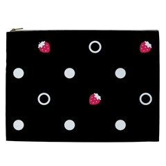 Strawberry Dots White With Black Cosmetic Bag (xxl)