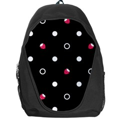 Strawberry Dots White With Black Backpack Bag