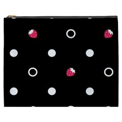 Strawberry Dots White With Black Cosmetic Bag (XXXL)