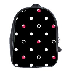 Strawberry Dots White With Black School Bag (XL)