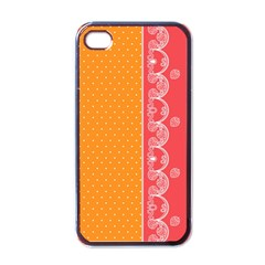 Lace Dots With Rose Gold Apple iPhone 4 Case (Black)