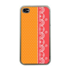Lace Dots With Rose Gold Apple Iphone 4 Case (clear)