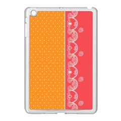 Lace Dots With Rose Gold Apple iPad Mini Case (White)