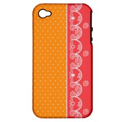 Lace Dots With Rose Gold Apple iPhone 4/4S Hardshell Case (PC+Silicone)