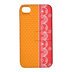 Lace Dots With Rose Gold Apple iPhone 4/4S Hardshell Case with Stand