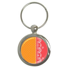 Lace Dots With Rose Gold Key Chain (Round)