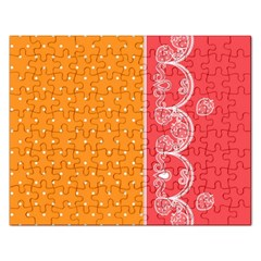 Lace Dots With Rose Gold Jigsaw Puzzle (Rectangular)