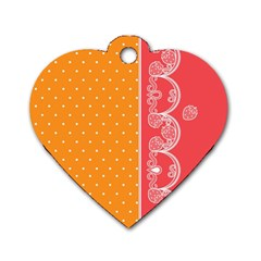 Lace Dots With Rose Gold Dog Tag Heart (Two Sides)