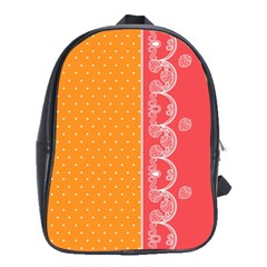 Lace Dots With Rose Gold School Bag (Large)