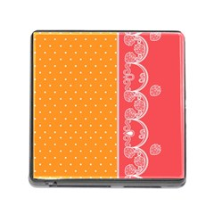 Lace Dots With Rose Gold Memory Card Reader with Storage (Square)