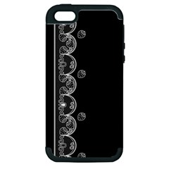 Strawberry Lace Black With White Apple Iphone 5 Hardshell Case (pc+silicone)