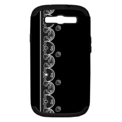 Strawberry Lace Black With White Samsung Galaxy S III Hardshell Case (PC+Silicone)