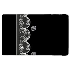 Strawberry Lace Black With White Apple Ipad 2 Flip Case