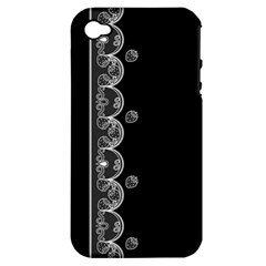 Strawberry Lace Black With White Apple iPhone 4/4S Hardshell Case (PC+Silicone)
