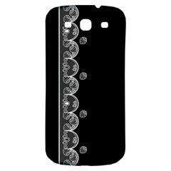 Strawberry Lace Black With White Samsung Galaxy S3 S III Classic Hardshell Back Case