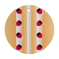 Origin Strawberry Cream Cake Round Ornament (Two Sides)