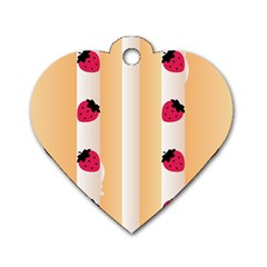 Origin Strawberry Cream Cake Dog Tag Heart (two Sides)