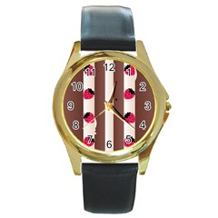 Choco Strawberry Cream Cake Round Gold Metal Watch