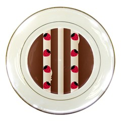 Choco Strawberry Cream Cake Porcelain Plate