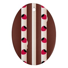 Choco Strawberry Cream Cake Oval Ornament (Two Sides)