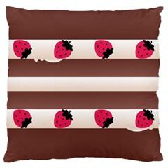 Choco Strawberry Cream Cake Large Cushion Case (One Side)