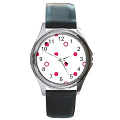 Strawberry Circles Pink Black Leather Watch (Round)