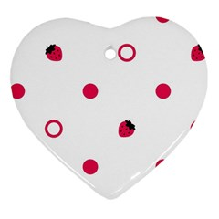 Strawberry Circles Pink Ceramic Ornament (Heart)