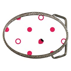 Strawberry Circles Pink Belt Buckle (Oval)