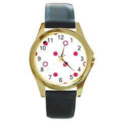 Strawberry Circles Pink Black Leather Gold Rim Watch (Round)