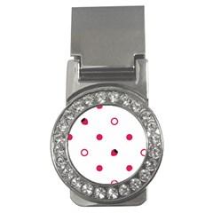Strawberry Circles Pink Money Clip with Gemstones (Round)