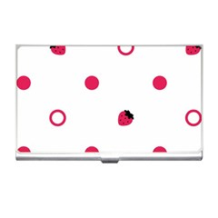 Strawberry Circles Pink Business Card Holder