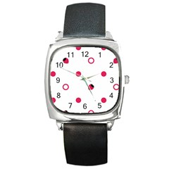 Strawberry Circles Pink Black Leather Watch (Square)