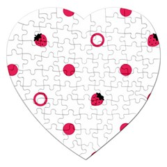 Strawberry Circles Pink Jigsaw Puzzle (Heart)
