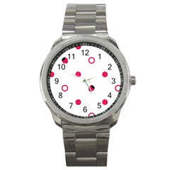 Strawberry Circles Pink Stainless Steel Sports Watch (Round)