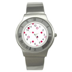 Strawberry Circles Pink Stainless Steel Watch (round)