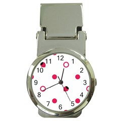 Strawberry Circles Pink Chrome Money Clip With Watch