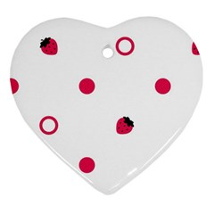Strawberry Circles Pink Heart Ornament (two Sides)