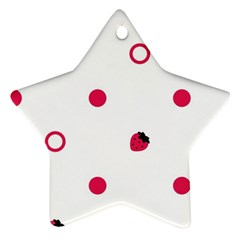 Strawberry Circles Pink Twin-sided Ceramic Ornament (Star)