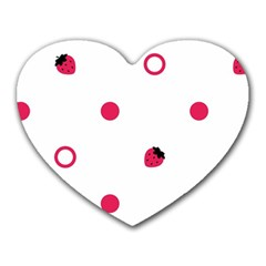 Strawberry Circles Pink Mouse Pad (heart)