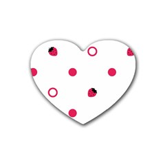 Strawberry Circles Pink 4 Pack Rubber Drinks Coaster (heart)