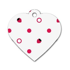 Strawberry Circles Pink Single Sided Dog Tag (heart)