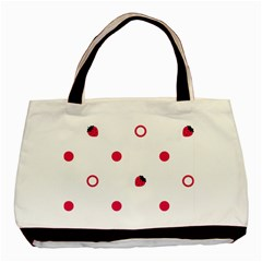 Strawberry Circles Pink Twin-sided Black Tote Bag