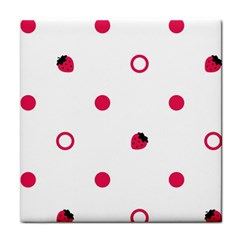 Strawberry Circles Pink Face Towel